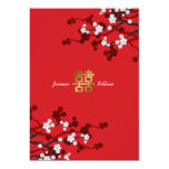 Cherry Blossoms Double Happiness Chinese Wedding Invitation