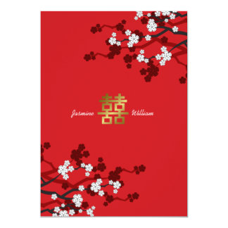 """Cherry Blossoms Double Happiness Chinese Wedding 5"""" X 7"""" Invitation Card"""