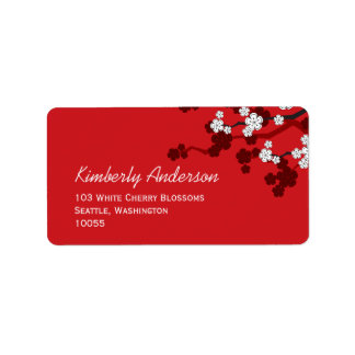 Cherry Blossoms Double Happiness Chinese Wedding Label