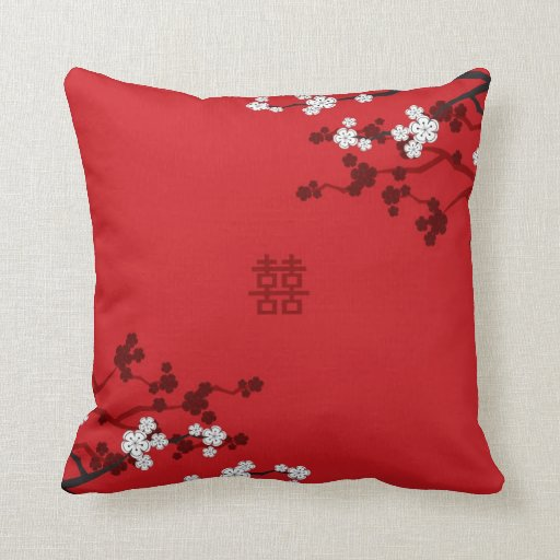 Cherry Blossoms Double Happiness Chinese Wedding Pillow