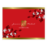 Cherry Blossoms Double Happiness Chinese Wedding Postcards