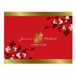 Cherry Blossoms Double Happiness Chinese Wedding Post Cards