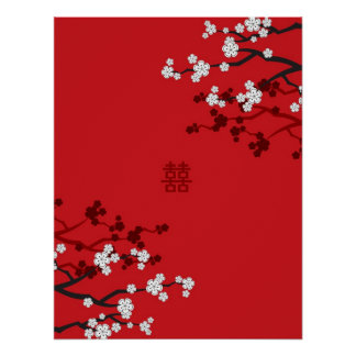Cherry Blossoms Double Happiness Chinese Wedding Poster
