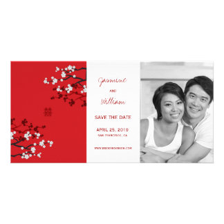Cherry Blossoms Double Happiness Save The Date Card