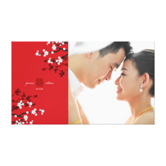 Cherry Blossoms Double Happiness Wedding Photo Art Canvas Print
