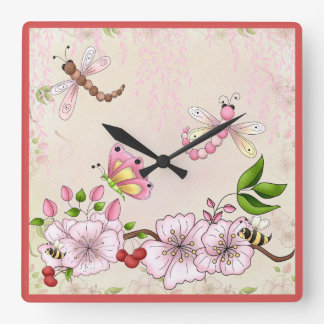 Cherry Blossoms Dragonfly Pink Flowers Spring Square Wall Clock
