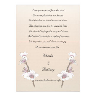 Cherry Blossoms elopement announcement