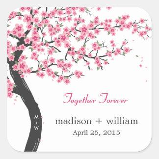 Cherry Blossoms Favor Sticker Stickers