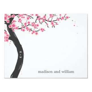 "Cherry Blossoms Flat Thank You Card 4.25"" X 5.5"" Invitation Card"