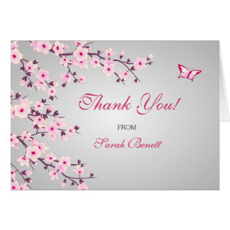 Cherry Blossoms Floral Thank You Baby Shower Card