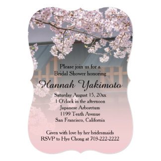 "Cherry Blossoms Flowers Bridal Shower Invitation 5"" X 7"" Invitation Card"