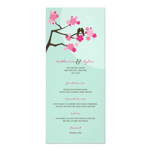 "Cherry Blossoms Flowers Love Birds Wedding Menu 4"" X 9.25"" Invitation Card"