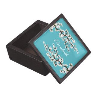 Cherry Blossoms Gift/Trinket Box (aqua)