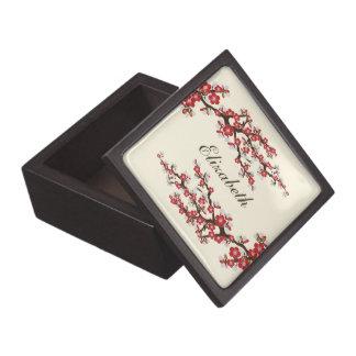 Cherry Blossoms Gift/Trinket Box (cranberry)