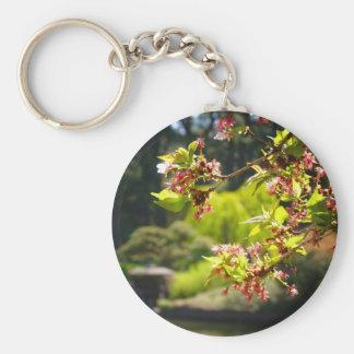 Cherry Blossoms In A Japanese Garden Keychain