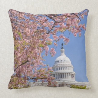 Cherry blossoms in front of Capitol building Throw Pillows