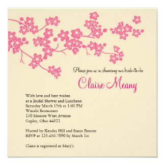 Cherry Blossoms in Pink and Ivory 5.25x5.25 Square Paper Invitation Card