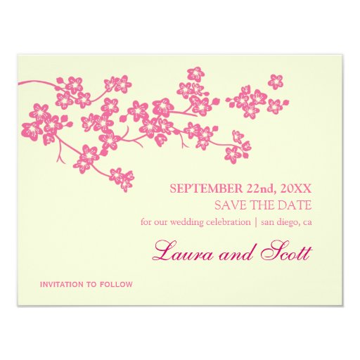 Cherry Blossoms in Pink Save The Date Invitation