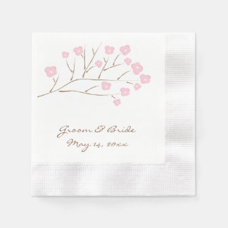 Cherry Blossoms in Pink Wedding Disposable Napkins