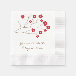 Cherry Blossoms in Red Paper Napkins