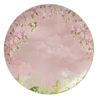 cherry blossoms in the sky plate