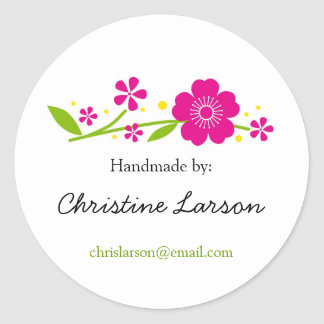 Cherry Blossoms Labels for Handmade items Classic Round Sticker