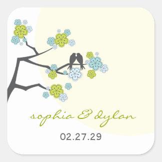 Cherry Blossoms Love Birds Spring Wedding Sticker
