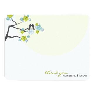 Cherry Blossoms Love Birds Wedding Thank You Card