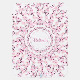 Cherry Blossoms Mandala Monogram Receiving Blanket