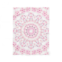 Cherry Blossoms Mandala Pattern Fleece Blanket