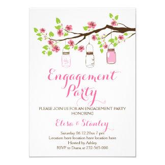Cherry blossoms mason jar wedding engagement party card