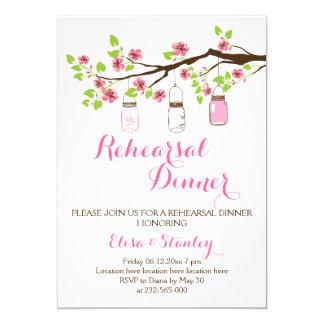 Cherry blossoms mason jar wedding rehearsal dinner 5x7 paper invitation card