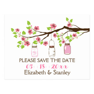 Cherry blossoms, mason jars wedding Save the Date Postcard