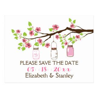 Cherry blossoms, mason jars wedding Save the Date Postcard