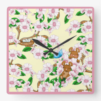 Cherry Blossoms Mice Pink Flowers Spring Blooms Square Wall Clock