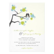 Cherry Blossoms Nature Love Birds Wedding Invite