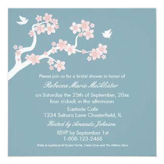 """Cherry Blossoms on blue Bridal Shower Invite 5.25"""" Square Invitation Card"""