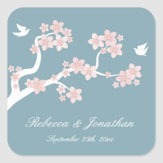 Cherry Blossoms on blue square sticker