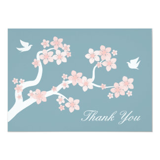 Cherry Blossoms on blue Thank You Note Card