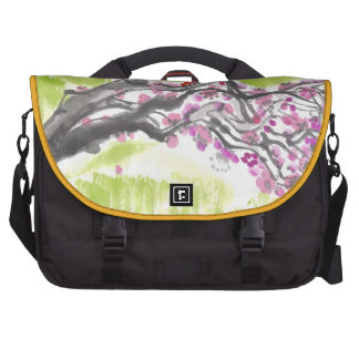 Cherry Blossoms on Green Bag For Laptop