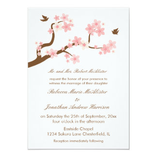 "Cherry Blossoms on White 5"" X 7"" Invitation Card"
