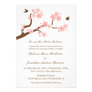 Cherry Blossoms on White Personalized Invitation
