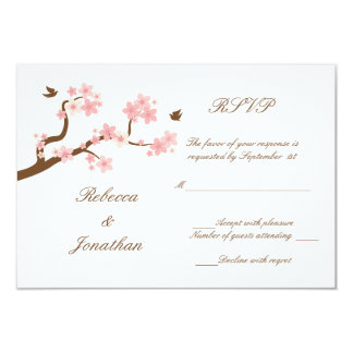Cherry Blossoms on white RSVP Personalized Invitations
