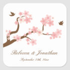 Cherry Blossoms on white square sticker