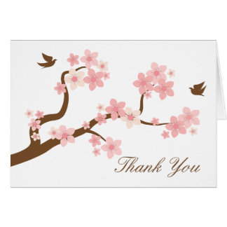 Cherry Blossoms on white Thank You Card