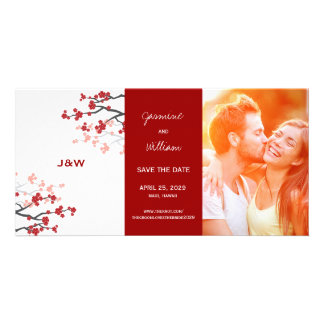 Cherry Blossoms Oriental Red Sakura Save The Date Custom Photo Card