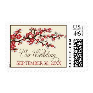 """Cherry Blossoms """"Our Wedding"""" Stamp (red)"""