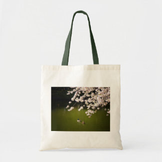 Cherry Blossoms Over A Pond With Ducks, NYC Canvas Bags
