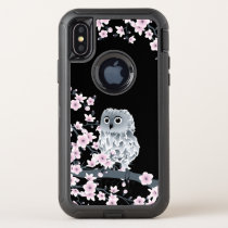 Cherry Blossoms Owl Cute Animal Girly OtterBox Defender iPhone X Case
