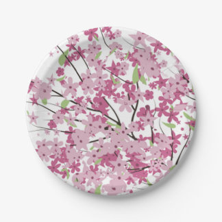 Cherry Blossoms Paper Plates 7 Inch Paper Plate